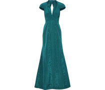 Open-back Fluted Moire Gown Teal
