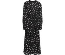Woman Belted Floral-print Crepe Midi Dress Black