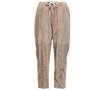 Cropped Suede Track Pants Neutral