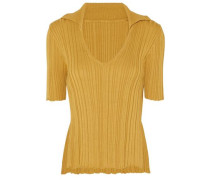 Ribbed-knit Cotton Top Mustard
