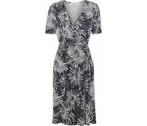 Floral-print Silk-jersey Wrap Dress Midnight Blue