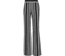 Striped cotton-blend canvas wide-leg pants