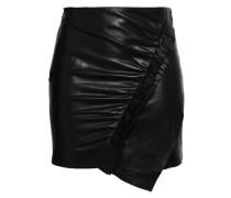 Ruched Leather Mini Skirt Black