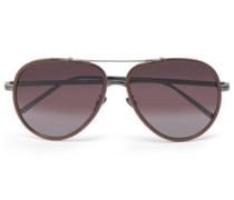 Aviator-style Acetate And Gunmetal-tone Sunglasses Brown Size --