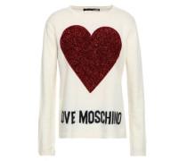 Tinsel-paneled Appliquéd Intarsia-knit Sweater Ivory