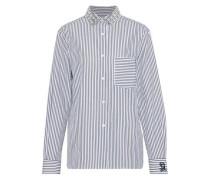 Crystal-embellished Striped Cotton-poplin Shirt White