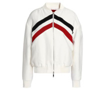 Striped cotton and silk-blend bombr jacket