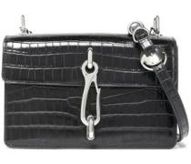 Chain-embellished Croc-effect Leather Shoulder Bag Black Size --