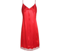Sequined lace-trimmed satin dress