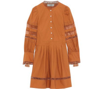 Capri Organza-paneled Cotton-poplin Mini Dress Camel
