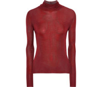 Woman Silk Turtleneck Top Brick