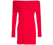 Off-the-shoulder Layered Cashmere Sweater Red