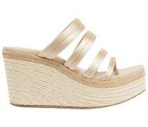 Dante Satin Espadrille Wedge Sandals Beige