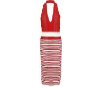Striped Crochet-knit Halterneck Midi Dress Red