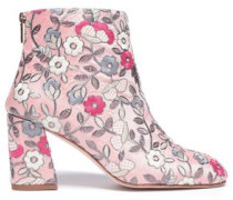 Woman Embroidered Canvas Ankle Boots Pastel Pink