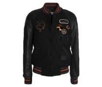 Embellished leather-paneled wool-blend jacket