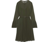 Belted Pleated Georgette Dress Leaf Green