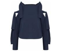 Baxter cold-shoulder bow-detailed cotton-poplin top