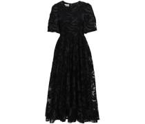 Embroidered Tulle Midi Dress Black