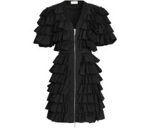 Ruffled cotton-blend twill mini dress