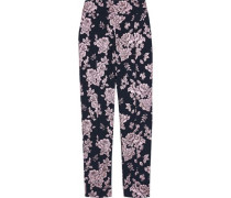 Metallic Floral-jacquard Tapered Pants Midnight Blue Size 0