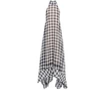 Asymmetric Gingham Gauze Halterneck Maxi Dress Gray Size 12