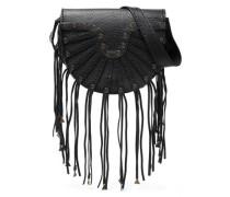 Embellished Fringed Textured-leather Shoulder Bag Black Size --