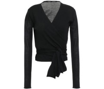 Woman Cropped Wool Wrap Cardigan Black