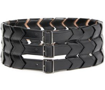 Cutout Leather Belt Black  5