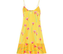 Tina Floral-print Stretch-silk Satin Mini Slip Dress Yellow