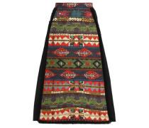 Paneled printed cotton-blend skirt