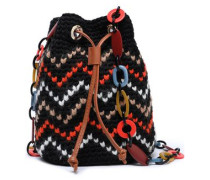 Woman Leather-trimmed Crochet-knit Cotton-blend Bucket Bag Black