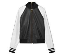 Zip-embellished Two-tone Leather Bomber Jacket Black