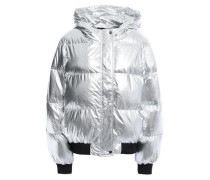 Woman Quilted Shell Hooded Down Jacket Silver