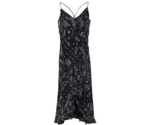 Bagda Ruffle-trimmed Printed Georgette Slip Dress Black