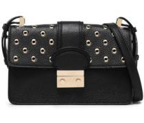 Embellished Textured-leather Shoulder Bag Black Size --