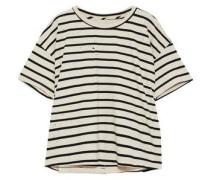 The Roadie Distressed Striped Cotton-blend Top Ivory Size 0