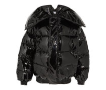 Glossed Quilted Down Jacket Black