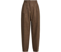Pleated Mélange Wool-blend Tapered Pants Brown