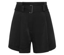 Deliah Belted Satin Shorts Black