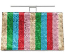 Chateau paneled sequined and textured-leather clutch