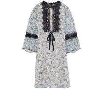 Guipure Lace-trimmed Printed Silk-chiffon Mini Dress Multicolor
