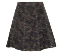 Eyelet-embellished Printed Leather Mini Skirt Army Green Size 0