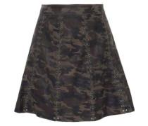 Eyelet-embellished printed leather mini skirt