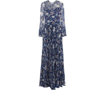 Pleated floral-print georgette gown