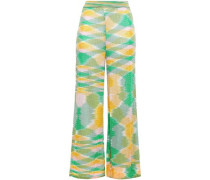 Sequined Knitted Kick-flare Pants Green