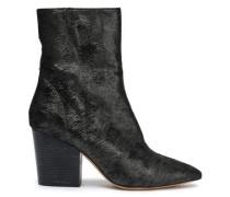 Ladilor Sliced Metallic Suede Ankle Boots Black