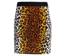 Leopard-print cotton-blend velvet mini skirt