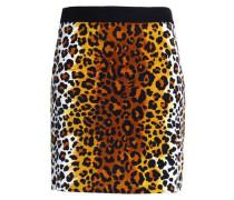 Leopard-print cotton-blend velvet mini skirt