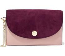Two-tone Leather Clutch Burgundy Size --